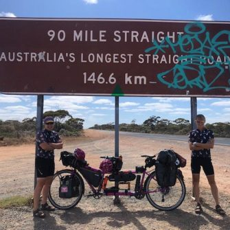 Cycling in Australia on their round the world cycling record attempt