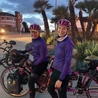 TandemWow at night on their around the world cycling record attempt by tandem
