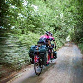 TandemWow on their tandem riding down a green lane