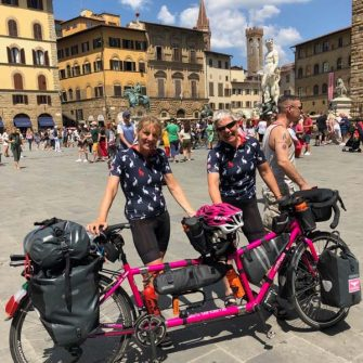 TandemWow with their tandem bicycle named Alice in Italy