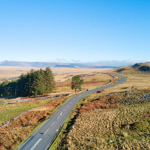 Cycling route through the Brecon Beacons Wales