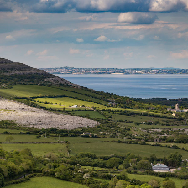 View across the coast of Ireland and the Wild Atlantic Way cycle route