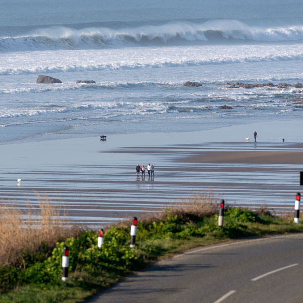 View down to a classic Cornish beach