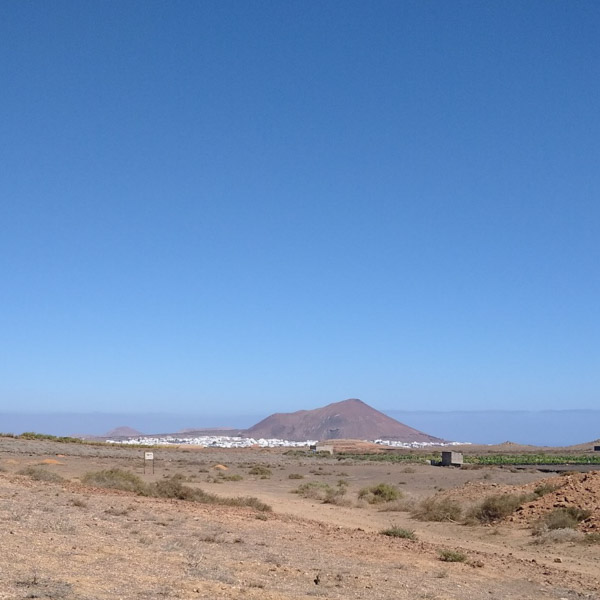 Classic view of Lanzarote, down to the sea