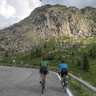 Dramatic rocky landscape on Pordoi Pass, Italy