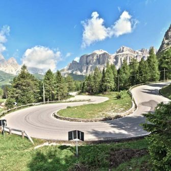Classic switchback on the road from Canazai to Pordoi Pass