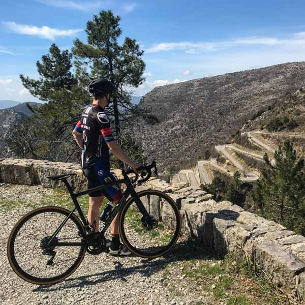 cyclist looking at Col de Braus, a fantastic cycling holiday in europe