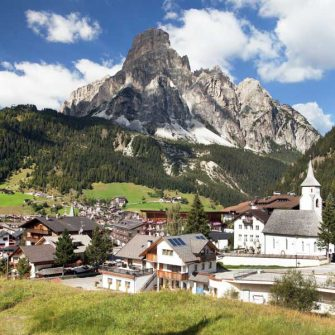The cycling hub of Corvara in the heart of the Italian Dolomites