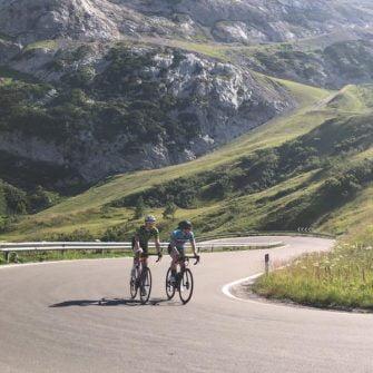 Final kilometres of the Passo Fedaia by bike, Dolomites, Italy