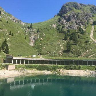 Lake near the summit of Passo Fedaia, Dolomites