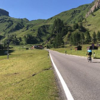 Long straight section on Passo Fedaia, Dolomites