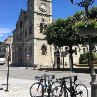 Bikes in the centre of Bagneres de Luchon, French Pyrenees