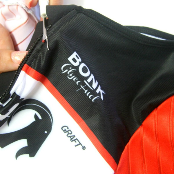 Stolen goat cycling kit being repaired by Clothes Doctor under lifetime guarantee