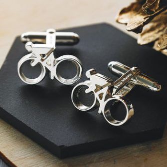 Pair of bicycle cufflinks in silver