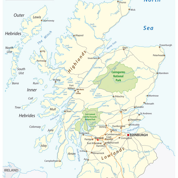 Map of regions for cycling in Scotland