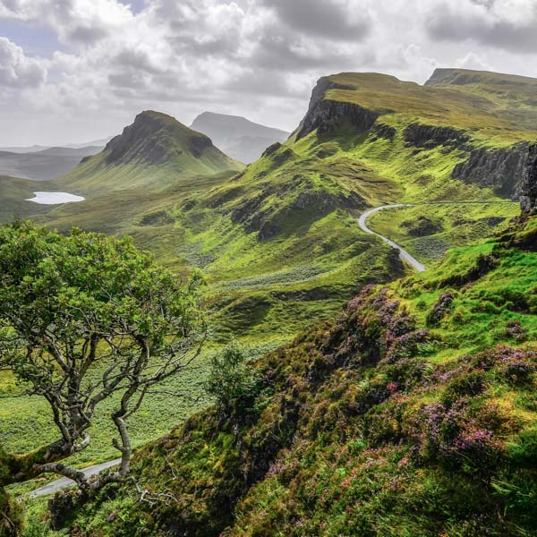 Quiraing mountains offer beautiful cycling routes in Scotland