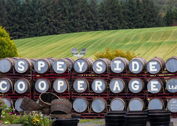Speyside barrels of whiskey, Scotland