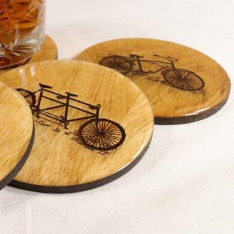 Cycling gift of wooden coasters