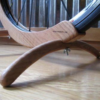 Oak bike stand close up makes a great gift for a cyclist
