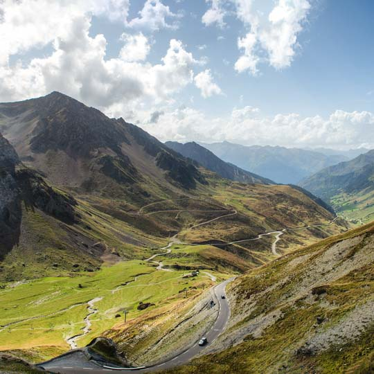 View of the Col du Tourmalet, a cycling icon in the French Pyrenees