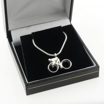 silver cycling pendant necklace in presentation box