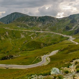 Road leading to the top of the Transalpina highway, romania