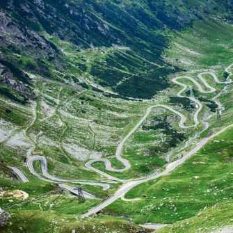 Looking down on the switchbacks of the Transfagarasan highway, romania