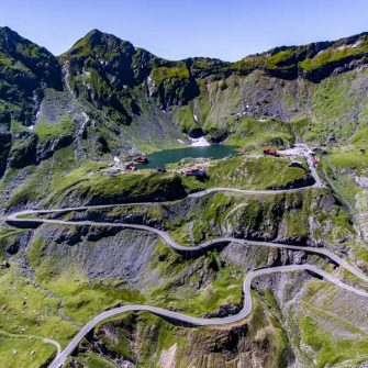 Road leading up to the summit of the Transfagarasan Highway pass