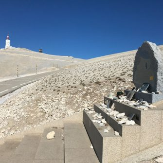 Tom Simpson memorial at the top of Mont Ventoux from Bedoin