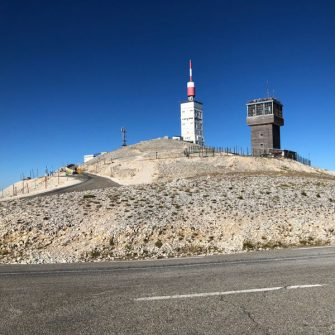 View of the top of Mont Ventoux from the Malaucene side of the mountain