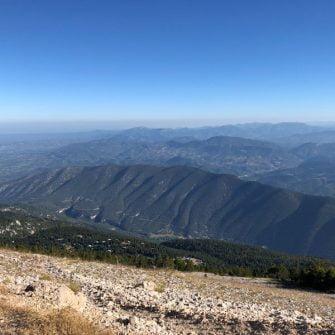 Views down to Malaucene on the climb up Mont Ventoux Cingles du Ventoux challenge ride