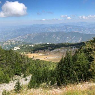View down towards Malaucene on the club des cinglés du mont ventoux