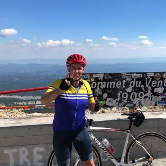 At the summit of the cingles du mont ventoux challenge ride