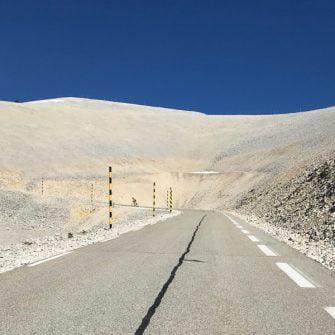 Lunar landscape on cyclist's Club des Cingles du Ventoux challenge ride