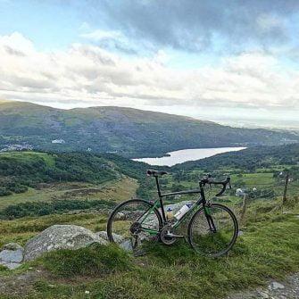 Cyclist above Llanberis Lake, North Wales