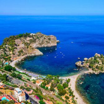 Isola Bella beach coast in Taormina, Sicily,