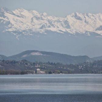 View across Lake Geneva to the Alps