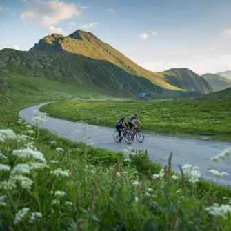 Cyclists in the French Alps near Geneva