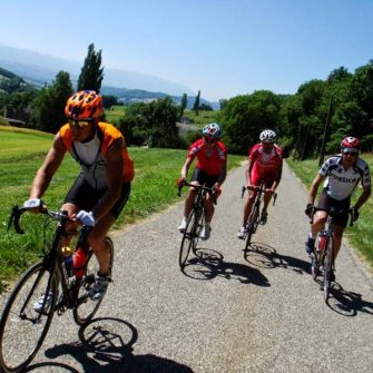 Cyclists cycling around Geneva