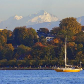 View to the Alps from Lake Geneva