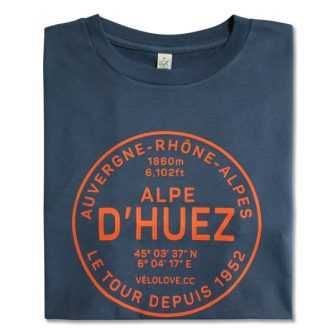 Alpe dHuez tshirt on blue cotton with red writing