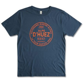 Alpe dHuez tshirt in blue with red writing