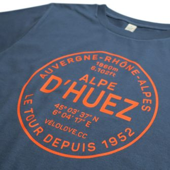 Alpe d'Huez t shirt in blue cotton with red writing