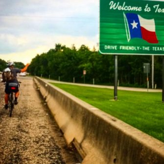Cyclist cycling through Texas while crossing America by bicycle