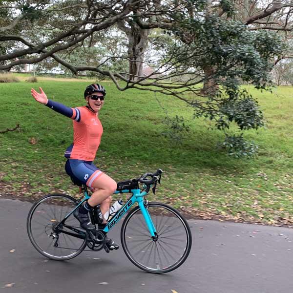 Cyclist in Centennial Park Sydney