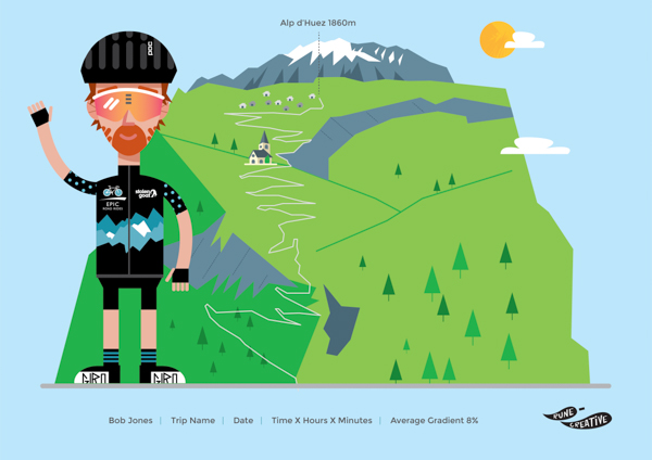 Personalised cycling gift: Alpe d'Huez cycling print/illustration