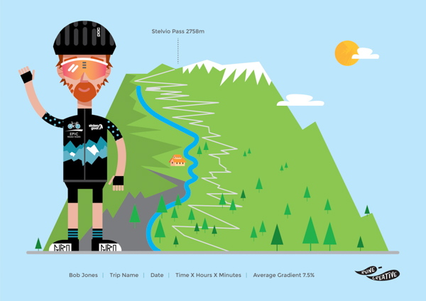 Unique cycling print illustration for cyclists