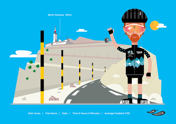 Personalised cycling print Mont Ventoux and cyclist