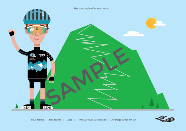 Personalised cycling print/illustration with cyclist and mountain