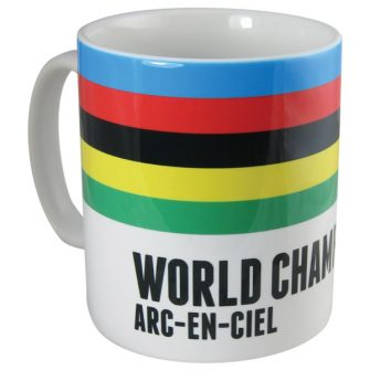 Velolove cycling mug with rainbow bands